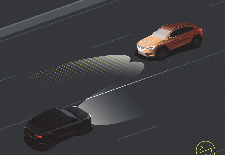 Illustration des High Beam Assist im neuen SEAT Tarraco
